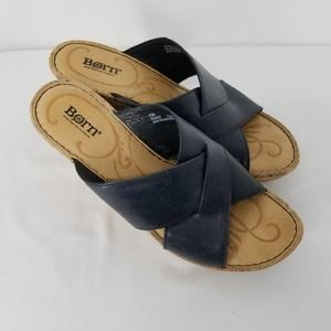Born Strappy Navy Wedge Sandals Size 10 M EUC